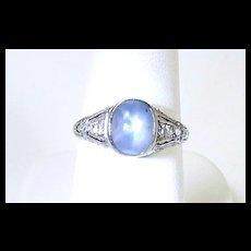 Special Edwardian Star Sapphire Diamond Hand Cut Filigree Ring c. 1910