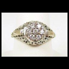Splashy Platinum Deco Diamond Filigree Ring c. 1920