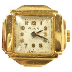 Fashionable Retro Fidea Swiss Gold Ring Watch c. 1940