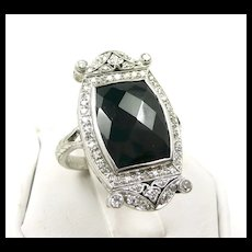 Elegant Edwardian Hand Cut Platinum Onyx Diamond Ring c. 1910
