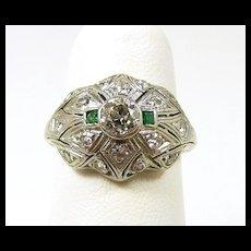 Arresting Art Deco Platinum Diamond Emerald Ring c. 1920