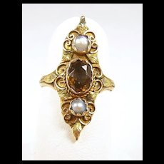Delicate Georgian French Foiled Topaz Pearl Ring c. 1830