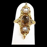 Delicate Georgian French Foiled Topaz and Pearl Ladies Fashion Ring c. 1830