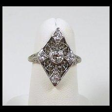 Art Deco Platinum Diamond Filigree Ladies Fashion Ring c. 1915