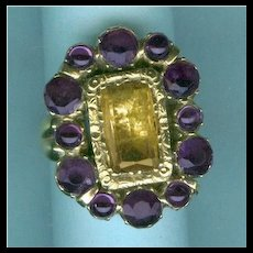 Grand Georgian Ring with Foiled Stones c. 1820