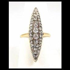 Beguiling Diamond Navette Fashion Ring c. 1870
