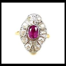 Everything Edwardian Hot Pink Sapphire Diamond Fashion Ring c. 1910