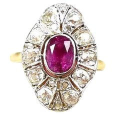 Everything Edwardian Hot Pink Sapphire and Diamond Ladies Fashion Ring c. 1910