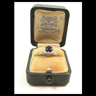 Refined Edwardian Platinum, Amethyst Filigree Ring c. 1910