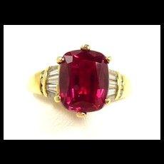 Outstanding Natural Rubellite Tourmaline Diamond Ring c. 1990