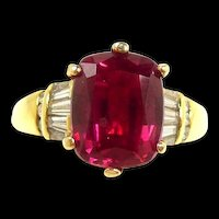 Outstanding Natural Rubellite Tourmaline and Diamond Ring in Gold c. 1990