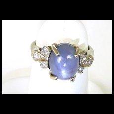 Striking Star Sapphire and Diamond Ladies Fashion Ring C. 1950