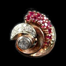 Remarkable Retro Gold, Platinum, Ruby and Diamond Fashion Ring c. 1940