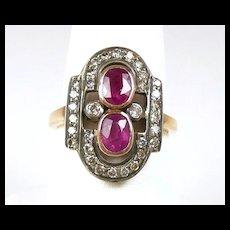 Perfect Victorian Diamond Ruby Ladies Fashion Ring c. 1880