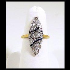 Entrancing Edwardian Filigree Diamond Sapphire Ring c. 1910