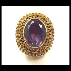 Entrancing Etruscan Revival Granulated Gold Ring Charles Packer c. 1860