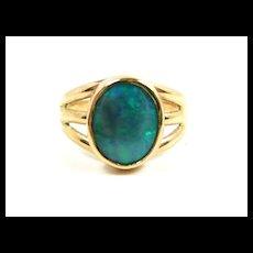 Artisan Made Solid Black Opal Ring