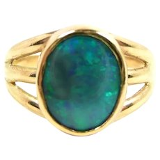 Artisan Made Solid Black Opal Ring