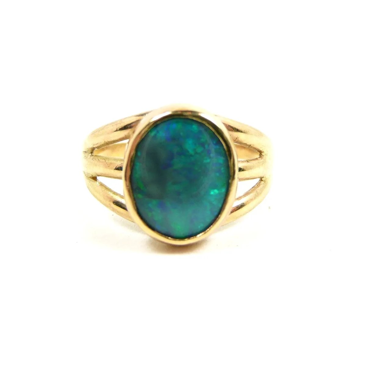 Made Solid Black Opal Ring