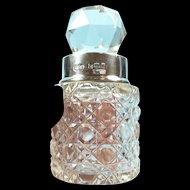Elegant Edwardian Era Crystal and Sterling Scent/ Perfume Bottle c. 1908