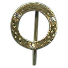 "Dramatic ""Circle of Life"" Art Nouveau Engraved Diamond and Gold Stickpin c. 1890"