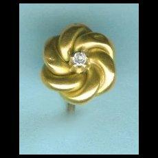 """Lover's Knot"" Victorian Diamond Stickpin in Gold c.1880"