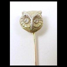 Wise Old Owl Platinum Diamond Stickpin c. 1881