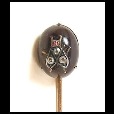 Fascinating Garnet Fly Victorian Insect Stickpin c. 1870