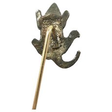 Lively Gorham Victorian Mouse Stickpin Gold and Sterling c. 1880