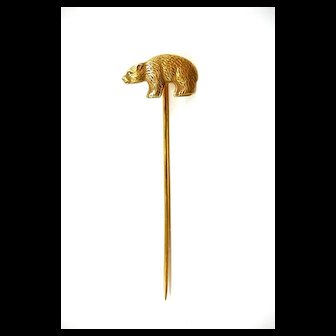 Brave Bear Figural Stickpin in Sterling c. 1910