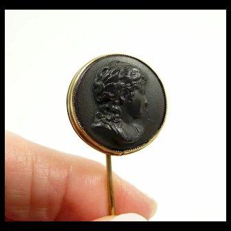 Ebonite Cameo Stick Pin c. 1870