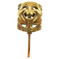 Perfect Prosopon Victorian Comedy and Tragedy Stickpin c. 1880
