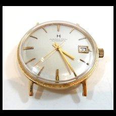 Sleek Hamilton Auto Gold Pan Back Wrist Watch c. 1960