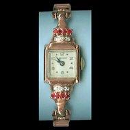 Remarkable Retro Rose Gold, Ruby, Diamond Ladies Wakmann Wrist Watch c. 1940