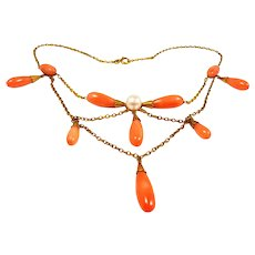 Arts & Crafts Handmade Gold, Coral and Pearl Necklace c. 1900