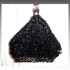 Evening Purse.  All-over Beaded. Black.  Adorable.  Mint condition.