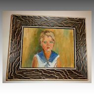 Genuine Oil Painting of Young Girl.  Oil on Masonite.  Framed.