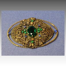 "Czech Brooch.  Very Large 3"" x 2"".  Very Old.  Blue & Green Stones & Filigree.  Mint Condition."