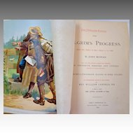 1892 Pilgrim's Progress by John Bunyan. Oversize.  Fabulous engraved & chromolithographed illus.  V. V. Collectible.