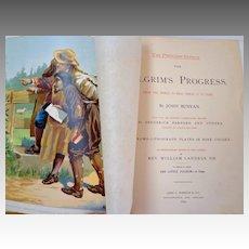1892 Pilgrim's Progress by John Bunyan. Oversize.  Fabulous engraved & chromolithographed illus.  V. V. Collectible.
