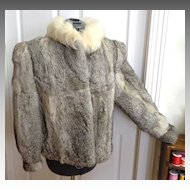 Rabbit Fur Jacket.  Grey & White.  Large.  As New Condition.  Gorgeous.