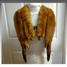 1940's Mink Stole.  4 Pelts.  Russet Brown.  Mint Condition.