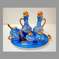 Japanese Moriage 6 Piece Condiment Set.  Blue & Gold.  Rare. Beautiful.  Mint Condition.
