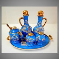 Japanese Moriage 6 Piece Condiment Set.  Blue & Gold.  Rare. Beautiful.  Mint Condition.