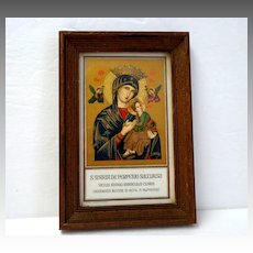 Italian. Roman  Framed Gold Lithograph. S. Maria de Perpetuo Succursu.  Holy Picture.  Small.  Lovely.