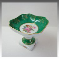 Limoges Pedestal Dish.  Comport.  Green, Gold & Florals.  Beautiful.  Mint Condition.