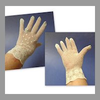 1930's Handmade in Shanghai, China Crocheted Lace Ladies Gloves.  Wedding Gloves.  Mint Condition.