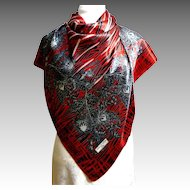 Dolce Vita Paris Scarf.  Red, Black & White.  Striking!  Mint Condition.