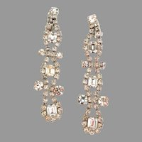 """Spectacular!  4"""" long Runway Chandelier Rhinestone Earrings.  Quality construction! Mint condition."""