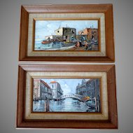 Pair Paintings. Venice Scenes.  Oil on Canvas.  1900-1920.